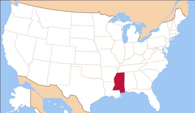 карта америки и штат Миссисипи
