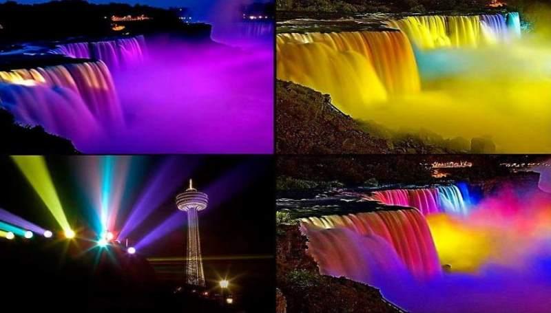 подсветка водопада в сша